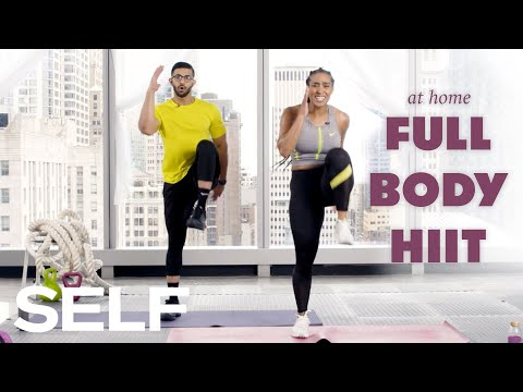 30-Minute HIIT Cardio Workout with Warm Up – No Equipment at Home | SELF