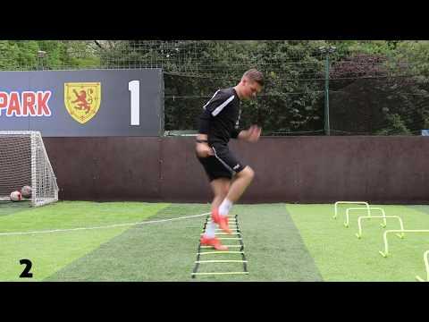 12 Football Training Warm Up Drills using Speed & Agility Ladder
