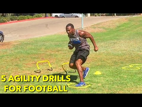 5 QUICK FEET AGILITY DRILLS FOR FOOTBALL PLAYERS!  SPEED TRAINING, AGILITY, QUICKNESS!