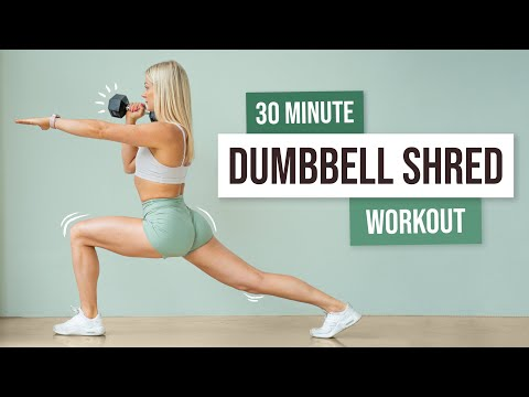 30 MIN FULL BODY DUMBBELL SHRED – Strength and Killer Cardio Workout with Weights – No Repeat