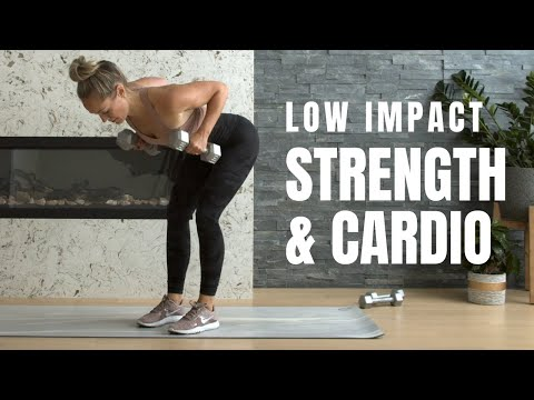 Low Impact HIIT // Strength + Cardio Workout (with weights)