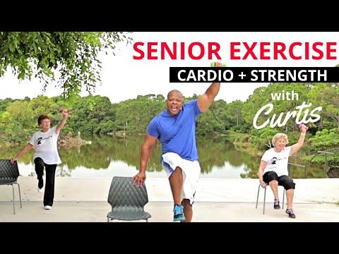 Senior fitness: STRENGTH TRAINING + CARDIO+ CORE exercises for seniors + Balance workout for seniors
